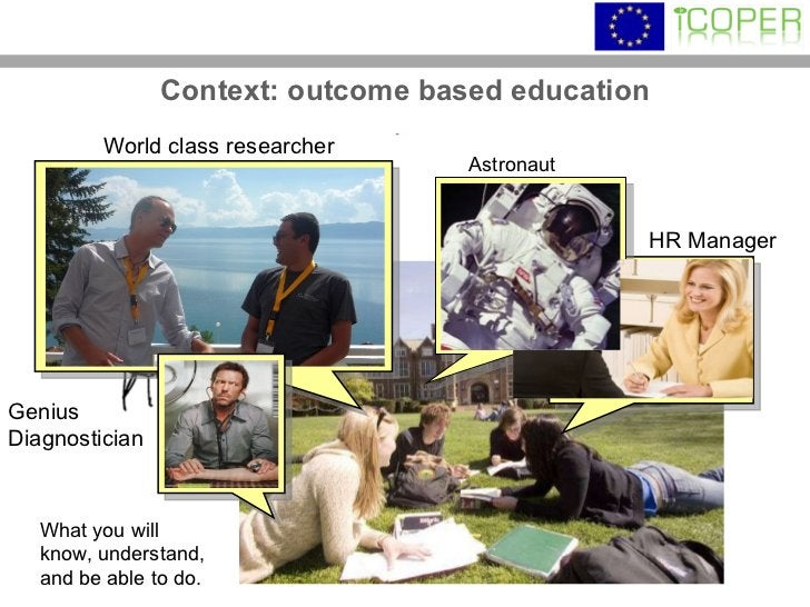 Context: outcome based education What you will know, understand, and be able to do. Genius Diagnostician HR Manager World ...
