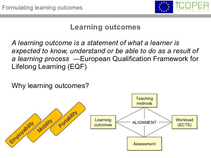 Learning outcomes <ul><li>A learning outcome is a statement of what a learner is expected to know, understand or be able t...