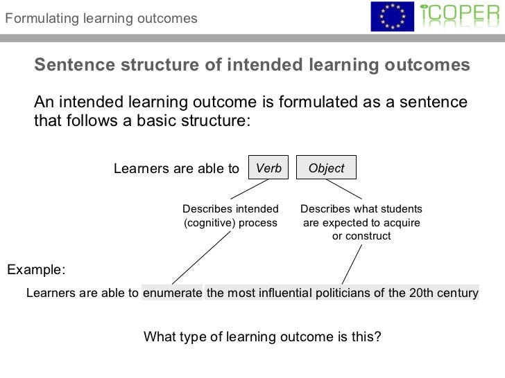 Sentence structure of intended learning outcomes <ul><li>An intended learning outcome is formulated as a sentence that fol...