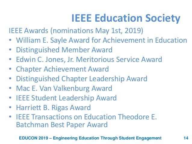 Awards presentation of the IEEE Educon 2019