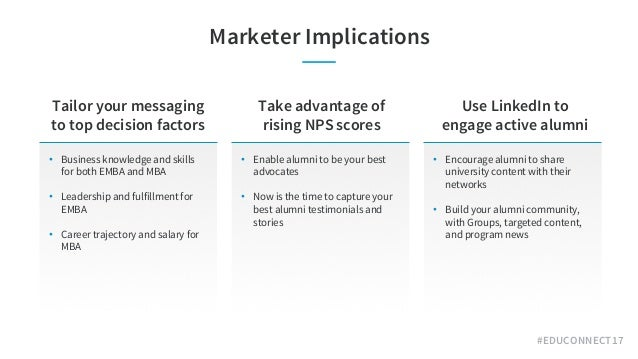 #EDUCONNECT17 Marketer Implications • Business knowledge and skills for both EMBA and MBA • Leadership and fulfillment for...