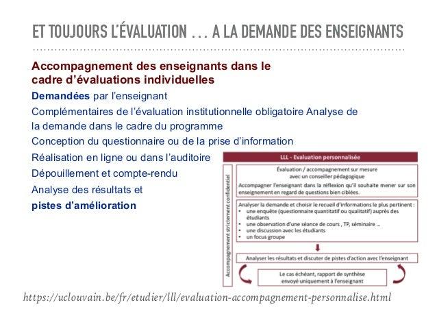ET TOUJOURS L'ÉVALUATION … A LA DEMANDE DES ENSEIGNANTS Accompagnement des enseignants dans le cadre d'évaluations individ...