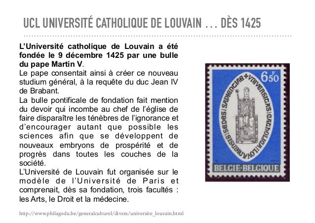 UCL UNIVERSITÉ CATHOLIQUE DE LOUVAIN … DÈS 1425 L'Université catholique de Louvain a été fondée le 9 décembre 1425 par une...