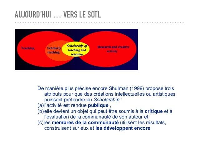 AUJOURD'HUI … VERS LE SOTL De manière plus précise encore Shulman (1999) propose trois attributs pour que des créations in...