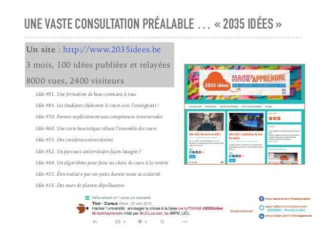 UNE VASTE CONSULTATION PRÉALABLE … «2035 IDÉES» Un site : http://www.2035idees.be 3 mois, 100 idées publiées et relayées...