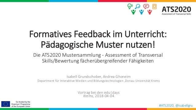 #ATS2020, @isabellgru Formatives Feedback im Unterricht: Pädagogische Muster nutzen! Die ATS2020 Mustersammlung - Assessme...