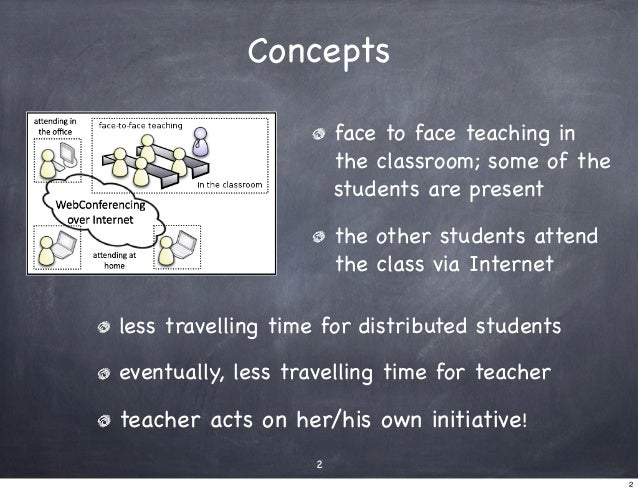 Concepts                        face to face teaching in                        the classroom; some of the                ...