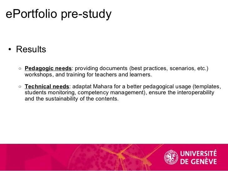 ePortfolio pre-study <ul><ul><li>Results </li></ul></ul><ul><li> </li></ul><ul><ul><ul><li>Pedagogic needs : providing do...