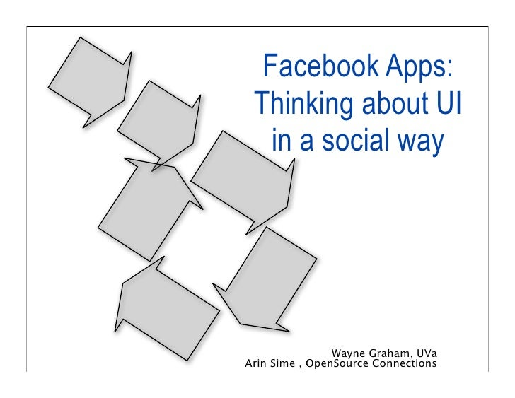 Facebook Apps:  Thinking about UI    in a social way                     Wayne Graham, UVa Arin Sime , OpenSource Connecti...