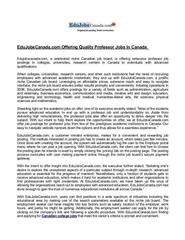 EduJobsCanada com Offering Quality Professor Jobs In Canada