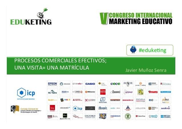 #eduke&ng   PROCESOS  COMERCIALES  EFECTIVOS;   UNA  VISITA=  UNA  MATRÍCULA         Javier  Muñoz...