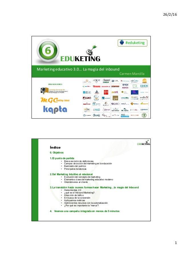 26/2/16 1 #eduketing ORGANIZADORES: Marketingeducativo3.0…Lamagiadelinbound CarmenMarcilla 0. Objetivos 1.El punto ...