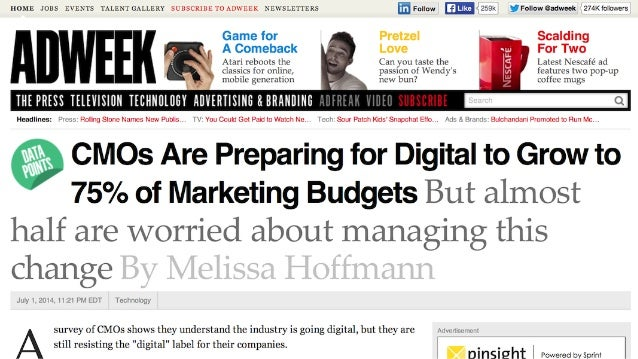 Source: Econsultancy, Skills of the Modern Marketer  70%of marketers increasing digital marketing technology spending in 2...