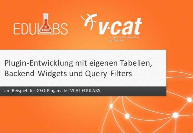 Plugin-Entwicklung mit eigenen Tabellen, Backend-Widgets und Query-Filters am Beispiel des GEO-Plugins der VCAT EDULABS