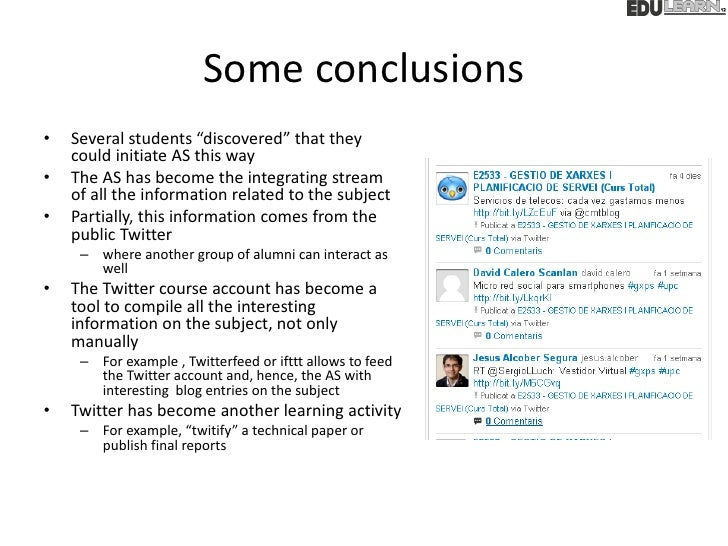 """Some conclusions•   Several students """"discovered"""" that they    could initiate AS this way•   The AS has become the integra..."""
