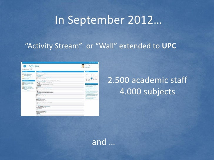 """In September 2012…""""Activity Stream"""" or """"Wall"""" extended to UPC                       2.500 academic staff                  ..."""