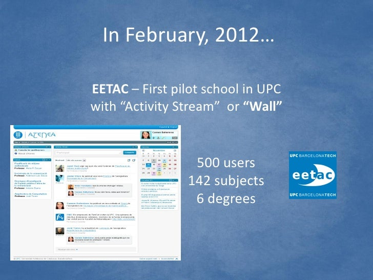 """In February, 2012…EETAC – First pilot school in UPCwith """"Activity Stream"""" or """"Wall""""                 500 users             ..."""