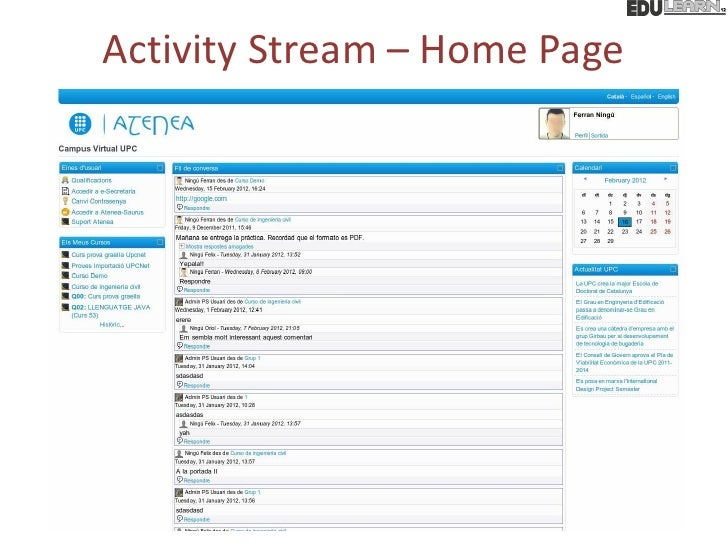 Activity Stream – Home Page