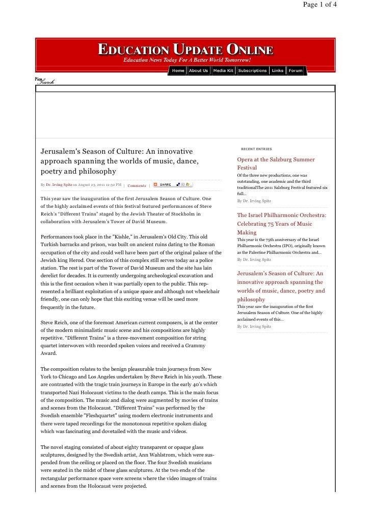 Page 1 of 4Jerusalems Season of Culture: An innovative                                           RECENT ENTRIESapproach sp...
