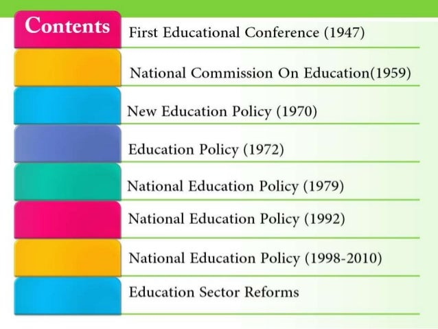 Different Education Policies Of Pakistan