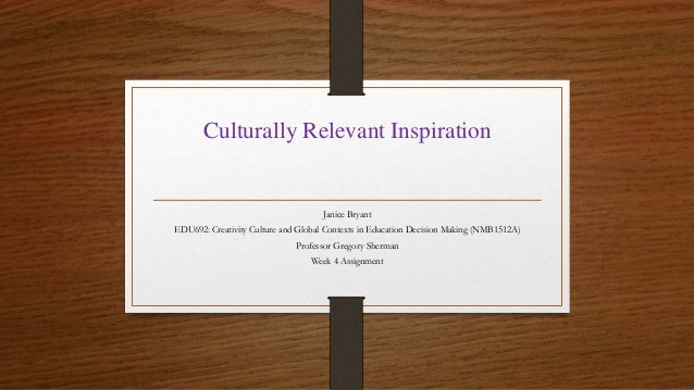 Culturally Relevant Inspiration Janice Bryant EDU692: Creativity Culture and Global Contexts in Education Decision Making ...