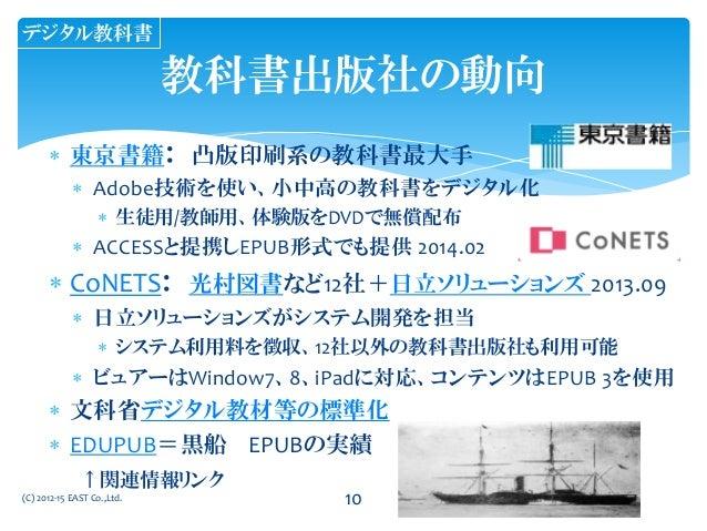 東京書籍: 凸版印刷系の教科書最大手  Adobe技術を使い、小中高の教科書をデジタル化  生徒用/教師用、体験版をDVDで無償配布  ACCESSと提携しEPUB形式でも提供 2014.02  CoNETS: 光村図書など12社+...