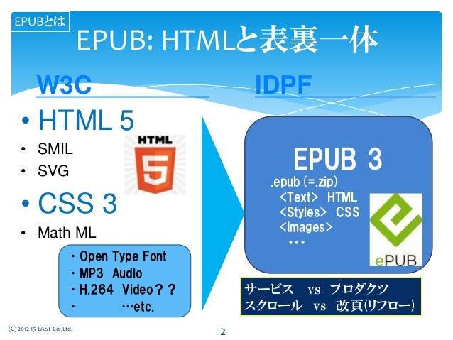 •Open Type Font •MP3 Audio •H.264 Video?? • …etc. EPUB: HTMLと表裏一体 • HTML 5 • SMIL • SVG • CSS 3 • Math ML EPUB 3 .epub(=.z...