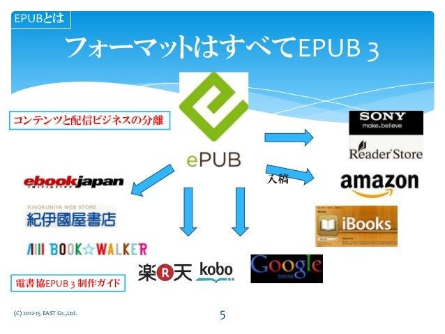 フォーマットはすべてEPUB 3 (C) 2012-15 EAST Co.,Ltd. EPUBとは 入稿 コンテンツと配信ビジネスの分離 電書協EPUB 3 制作ガイド 5
