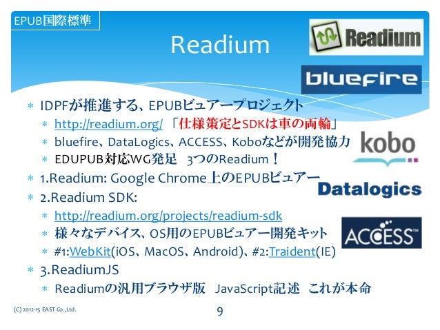  IDPFが推進する、EPUBビュアープロジェクト  http://readium.org/ 「仕様策定とSDKは車の両輪」  bluefire、DataLogics、ACCESS、Koboなどが開発協力  EDUPUB対応WG発足 3...