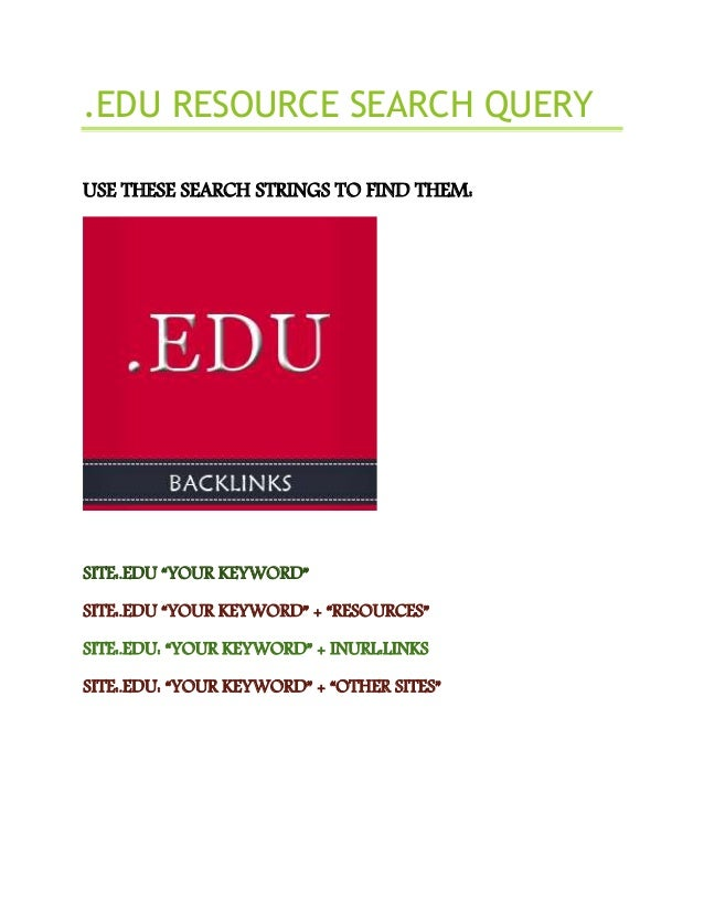 .Edu resource search query