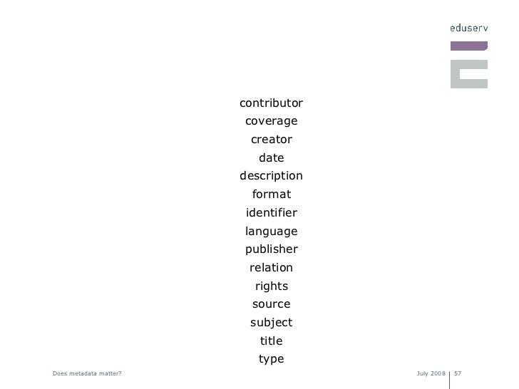 <ul><li>contributor </li></ul><ul><li>coverage </li></ul><ul><li>creator </li></ul><ul><li>date </li></ul><ul><li>descript...