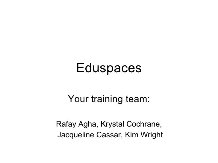 Eduspaces Your training team: Rafay Agha, Krystal Cochrane, Jacqueline Cassar, Kim Wright
