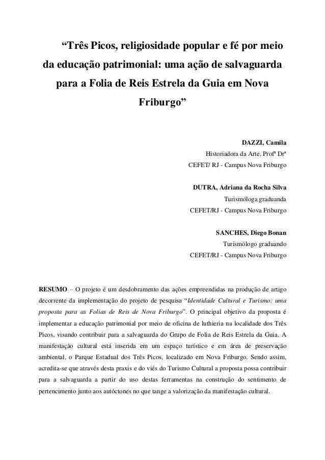 """""""Três Picos, religiosidade popular e fé por meio da educação patrimonial: uma ação de salvaguarda      para a Folia de Rei..."""