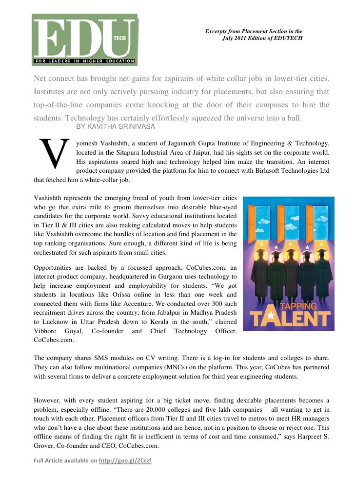 Excerpts from Placement Section in the                                                                     July 2011 Editi...