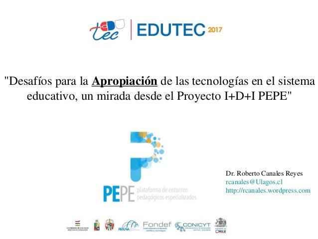 """""""Desafíos para la Apropiación de las tecnologías en el sistema educativo, un mirada desde el Proyecto I+D+I PEPE"""" Dr. Robe..."""