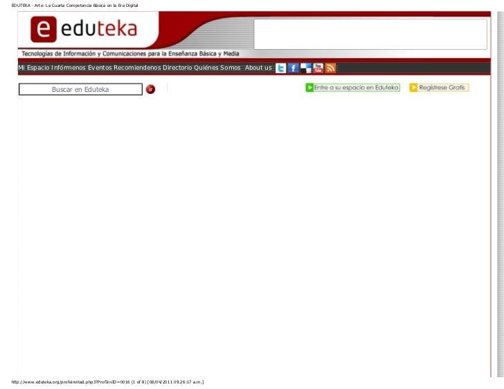 EDUTEKA - Arte: La Cuarta Competencia Básica en la Era Digital   Mi Espacio Infórmenos Eventos Recomiendenos Directorio Qu...