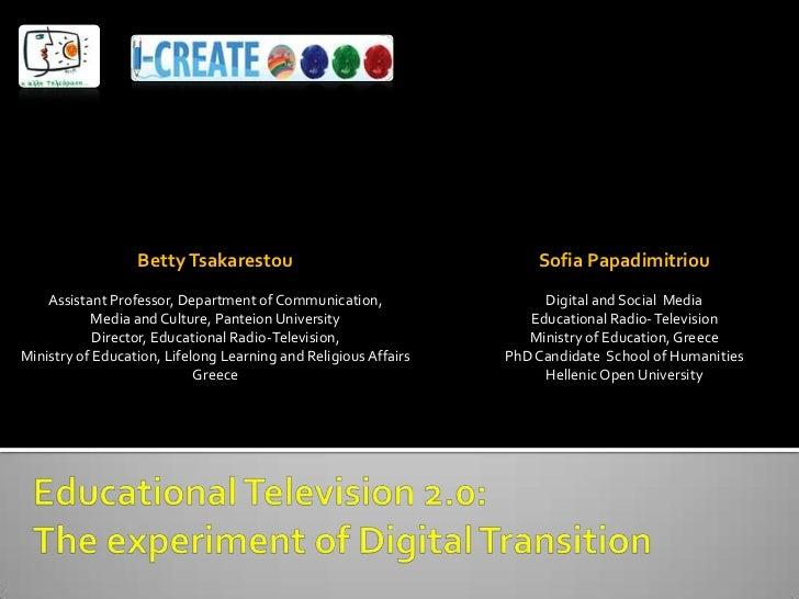 Betty Tsakarestou                                  Sofia Papadimitriou    Assistant Professor, Department of Communication...
