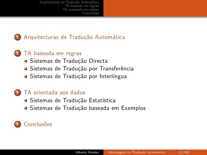 Arquitecturas de Tradução Automática Slide 2