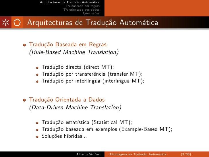 Arquitecturas de Tradução Automática Slide 3