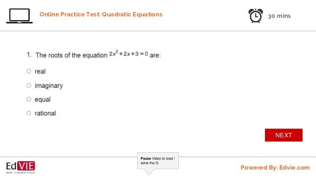 quadratic equations online practice test 1 class 9 cbse mathematics rh slideshare net Astronomy Equations Hands-On Equations Answer Sheet Lesson 1