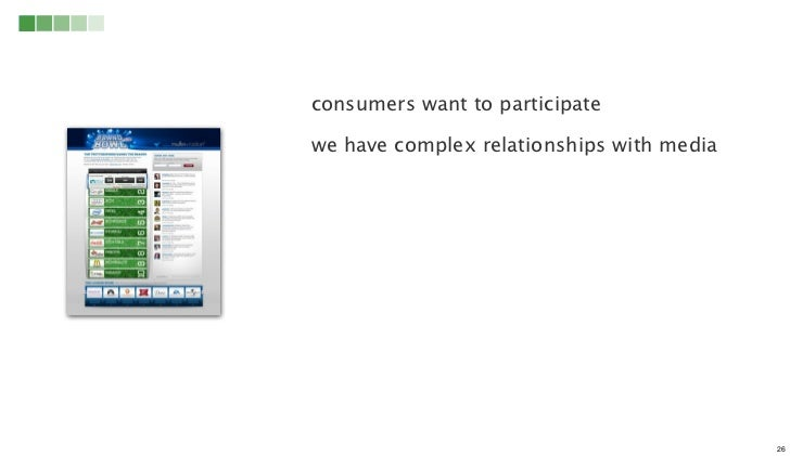 consumers want to participatewe have complex relationships with media                                           26