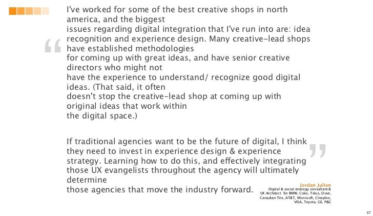 Ive worked for some of the best creative shops in north    america, and the biggest    issues regarding digital integratio...