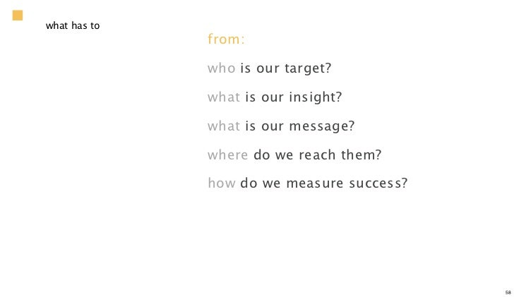 what has to              from:              who is our target?              what is our insight?              what is our ...