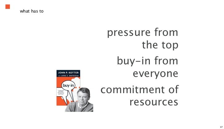 what has to               pressure from                     the top                buy-in from                   everyone ...