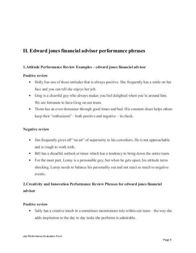 Edward jones financial advisor performance appraisal