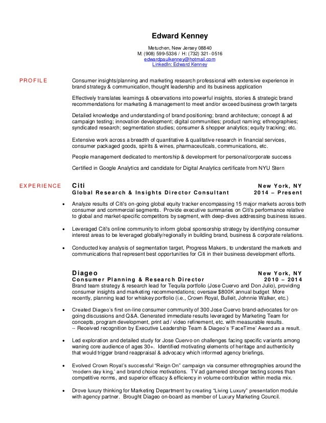 Marketing Research Resume