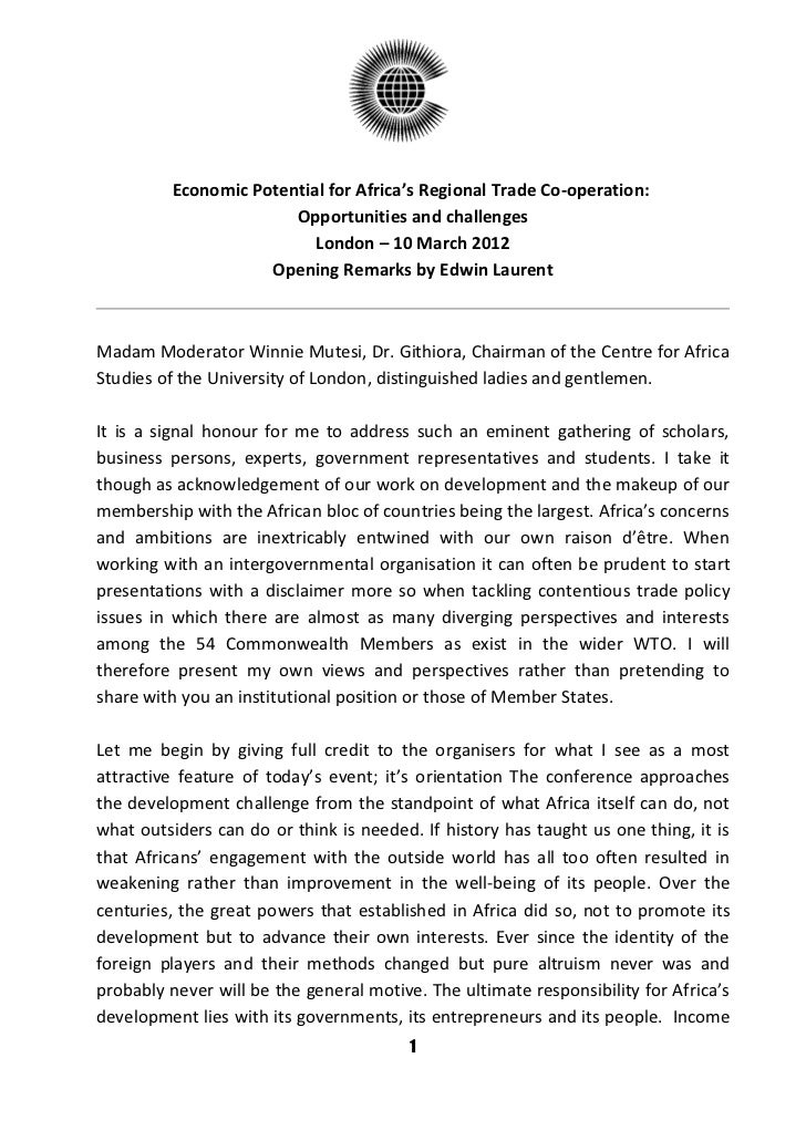 Economic Potential for Africa's Regional Trade Co-operation:                       Opportunities and challenges           ...