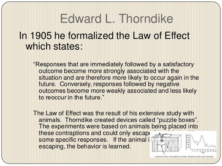edward lee thorndike and his behaviour experiments Edward lee thorndike (1874-1949) chapter 4  but no controls the animal  mind  (1908) thorndike (1874-1949) thorndike  thorndike early learning  experiments involved  in trail-and-error learning behavior is instrumental ( useful) in.