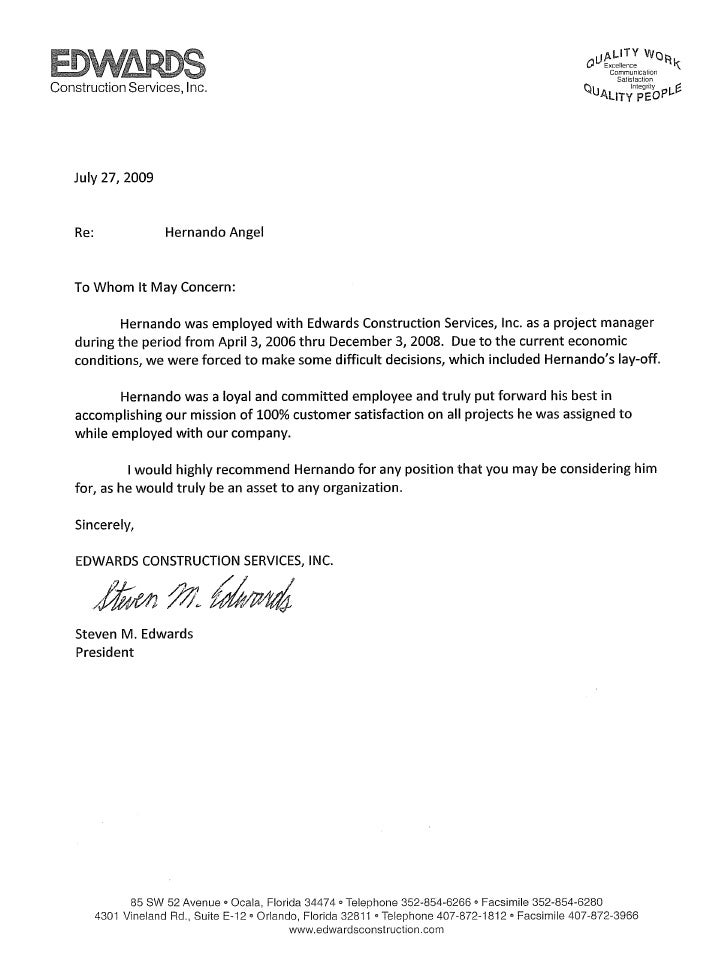 edwards construction recommendation letter