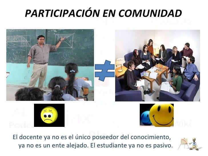 PARTICIPACIÓN EN COMUNIDAD <ul><li>El docente ya no es el único poseedor del conocimiento, ya no es un ente alejado. El es...